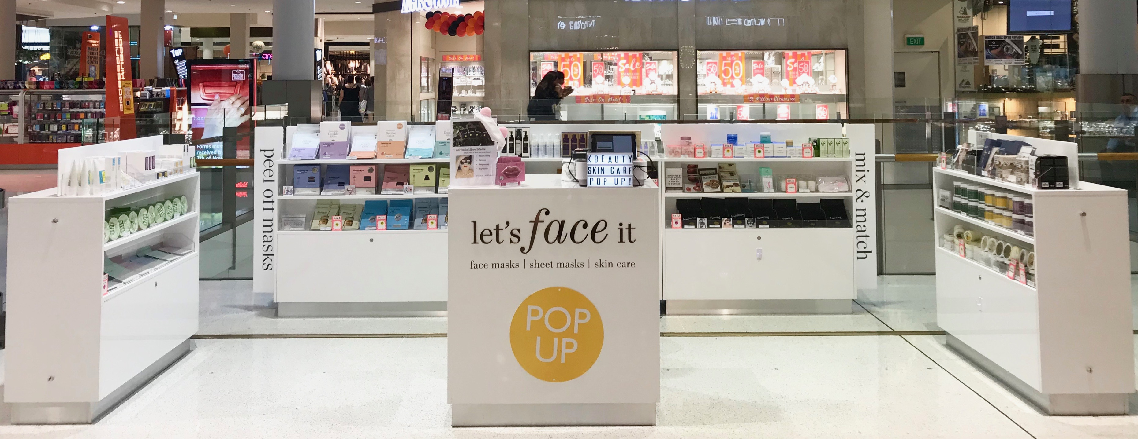 Lets Face It Korean skincare pop up store in Westfield Liverpool